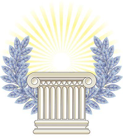 ancient roman: Antique Greek Column and silver Laurel.