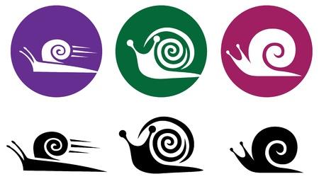 Snail silhouette icon set.