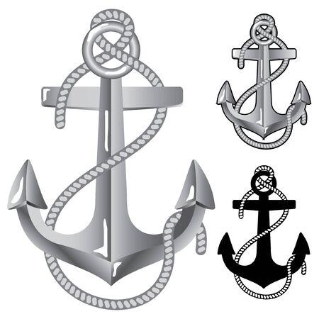 at anchor: Ancla de plata. S�mbolo de marineros  Vectores