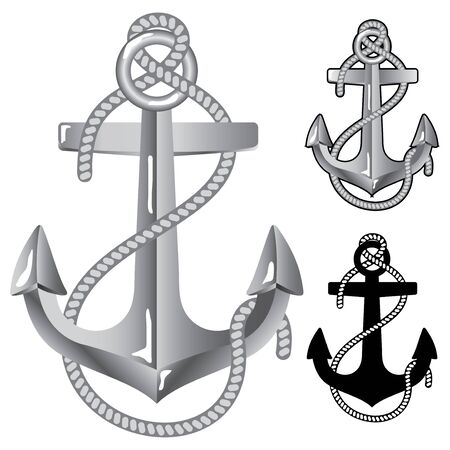 anchor: Silver anchor. Symbol of sailors  Illustration