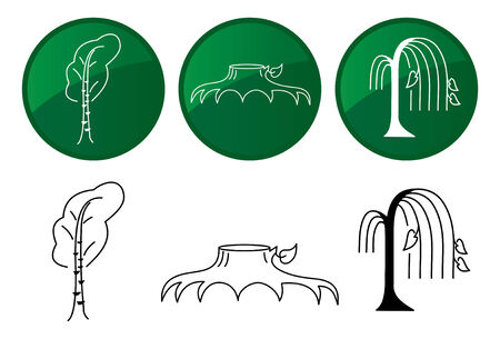 willow tree: Trees. icons set.