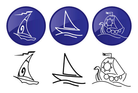 Sailing ships. icons set. Vector