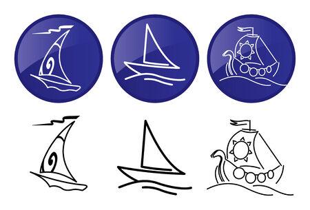 Sailing ships. icons set. Vector