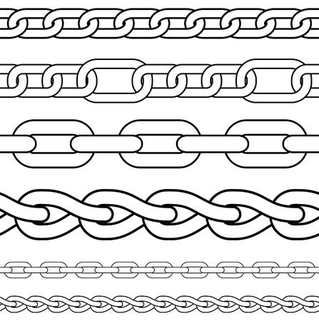 összekapcsol: Chain. Set of seamless borders.