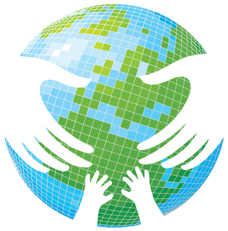 Earth. Hands of parents and children.  Vector