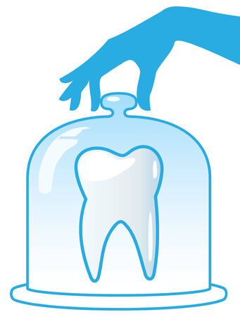 patronage: A healthy tooth is protected by a glass dome. Dentistry.