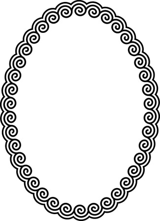 Oval frame with a meander. Stock Vector - 8864487
