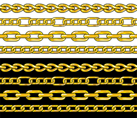 gold string: Gold chain. Seamless Borders  Illustration