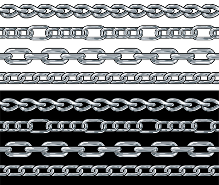 wreathe: Silver chain. Seamless Borders