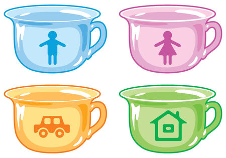 Bright kids potty with silhouettes of boy, girl, car, house. Stock Vector - 8864483