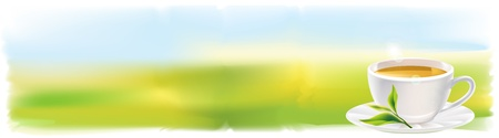 tea plantation: Panorama with Cup of tea and a natural green leaf. Background - sunny landscape. illustration.