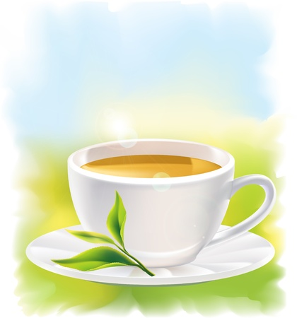tea plantation: Cup of tea and a natural green leaf. Background - sunny landscape. illustration.