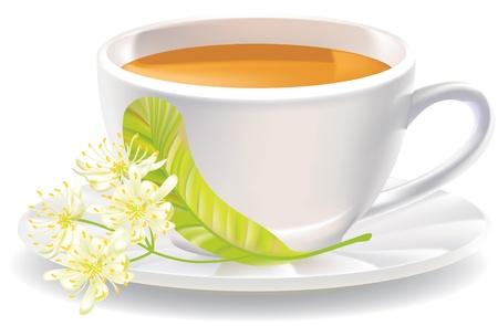 lindeboom: Linden bloemen en een kopje thee. illustratie.