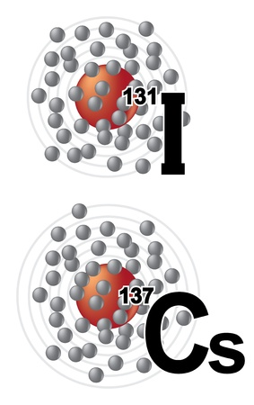 Radionuclides of iodine 131 and cesium 137 Stock Vector - 9150943