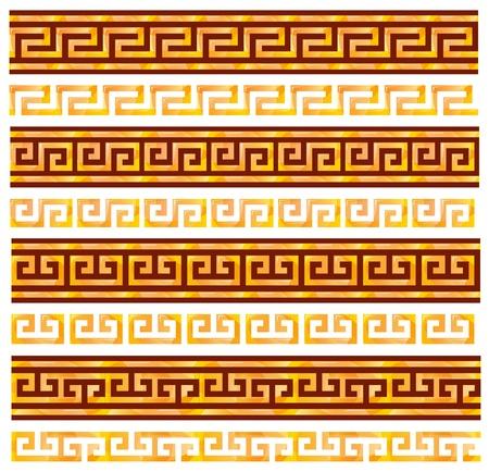 romano: Oro meandros transparentes. Adornos de griegos antiguos. Vectores