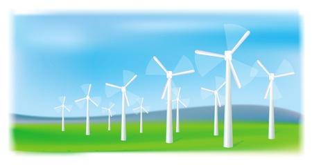 Wind turbines farm. Alternative energy source. Vector