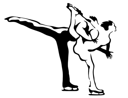 Figure skating. Linear drawing in vector format.
