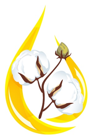 Cotton seed oil. Stylized drop of oil and a sprig of cotton inside. Vector illustration.
