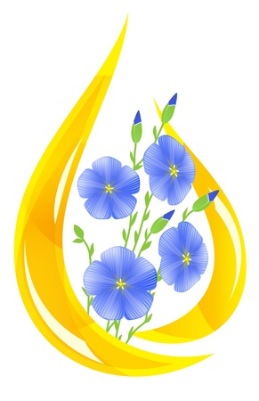 oil drop: Flaxseed oil. Stylized drop of oil and flax flowers inside. Vector illustration.