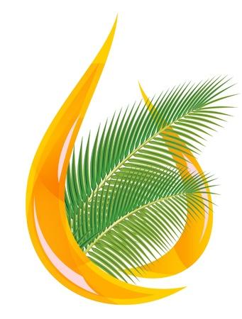 Olio di palma. Goccia stilizzata di foglie di palma e olio. Illustrazione vettoriale.
