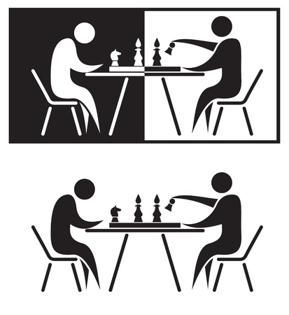 chess game: Chess players. Black and white illustration.