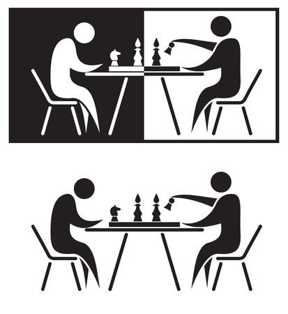ajedrez: Jugadores de ajedrez. Ilustraci�n de blanco y negro.