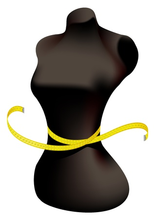 Mannequin and measuring tape. Vector