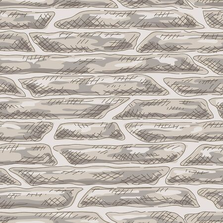 ashlar: Seamless stone wall. Vector background. Hand-drawing.