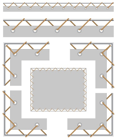 pulling rope: Seamless border and corners to create a banner with grommet, cord stretched on the frame Illustration