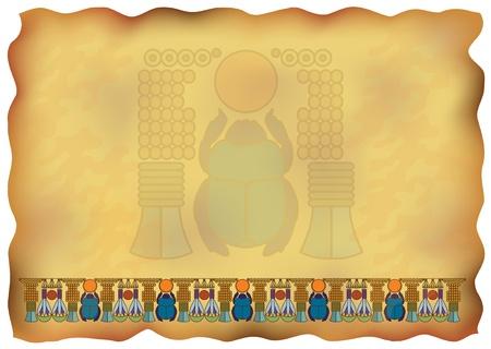 scarabeo: Papiro egiziano con ornamenti e illustrazione scarabeo. Vettoriali
