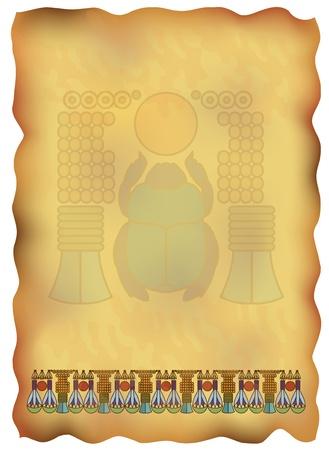 vellum: Papiro egiziano con ornamenti ed illustrazione scarabeo.