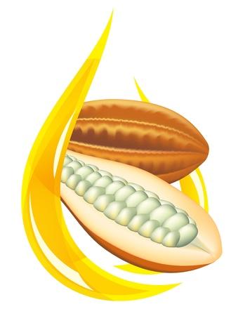 Beurre de cacao. Illustration de la goutte stylisées sur fond blanc.