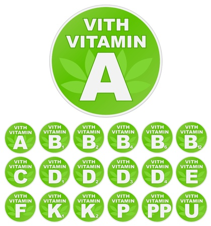 pp: Set of stickers with vitamin
