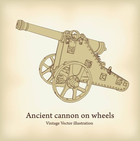 Antique cannon on wheels.  Stock Vector - 10424060