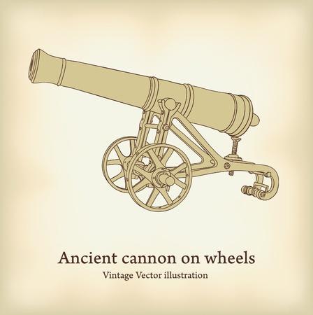 gusseisen: Antike Kanone auf R�dern. Illustration