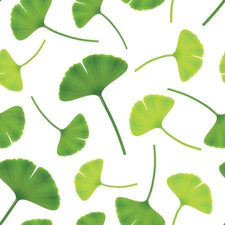 gingko: Leaves of ginkgo bilboa. Seamless illustration.
