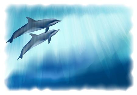 Fondo submarino con delfines. Simulación de acuarela. Ilustración de vector