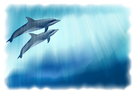 Underwater background with dolphins. Simulating watercolor drawing. Vector