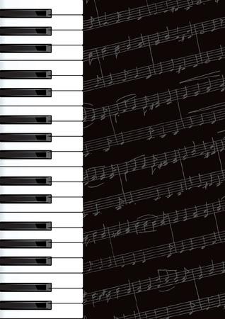 Piano keys and notes.