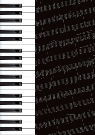 nota: Piano keys and notes.