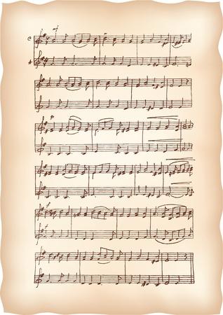 Vintage carta fatti a mano con note musicali.