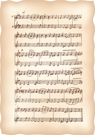 music sheet: Vintage paper with handmade musical notes.