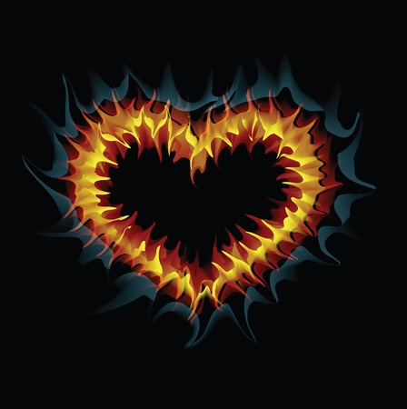 red love heart with flames: Flaming coraz�n.  Vectores