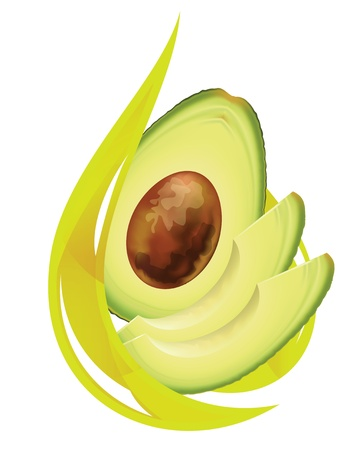 halved: Avocado oil. Stylized drop. Vector illustration. Illustration