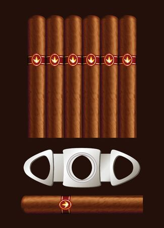 cigars: Cigars and guillotine. Vector illustration on black background.