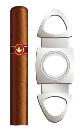 cigars: Cigar and guillotine. Vector illustration on white background.