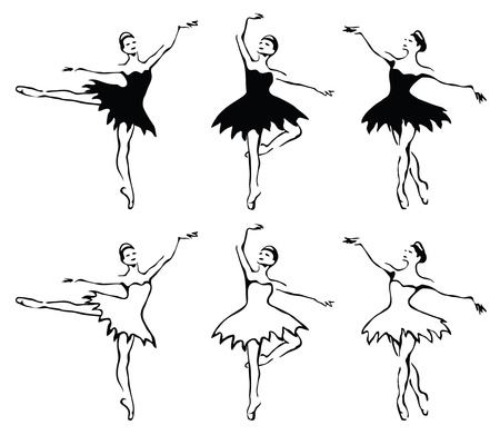 ballet tutu: Ballet woman-dancers. Vector illustration.