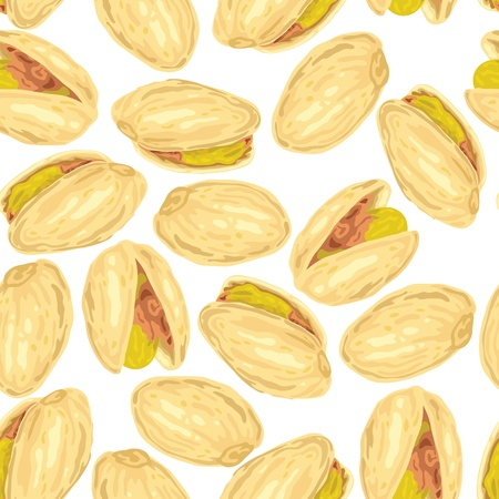 dried: Pistachios. Seamless background. Vector illustration.