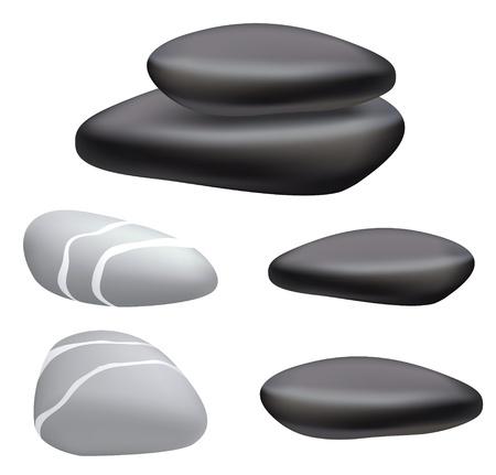 Ciottoli scuro e grigio su uno sfondo bianco. Illustrazione vettoriale.