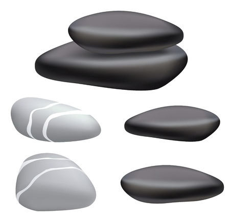 zen stone: Dark and gray pebbles on a white background. Vector illustration.